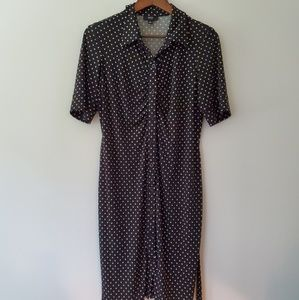 MSK Petite polka dot button down shirt dress PL